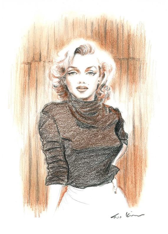 Marilyn Monroe Conte Pencil Drawing  - Brown Sepia, Retro
