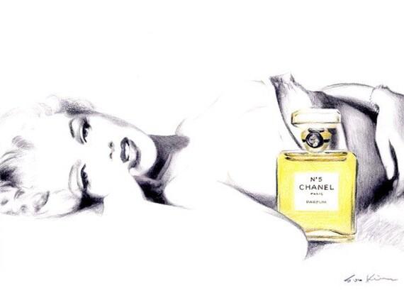 Marilyn Monroe in Chanel No 5 - Print of Original Illustration