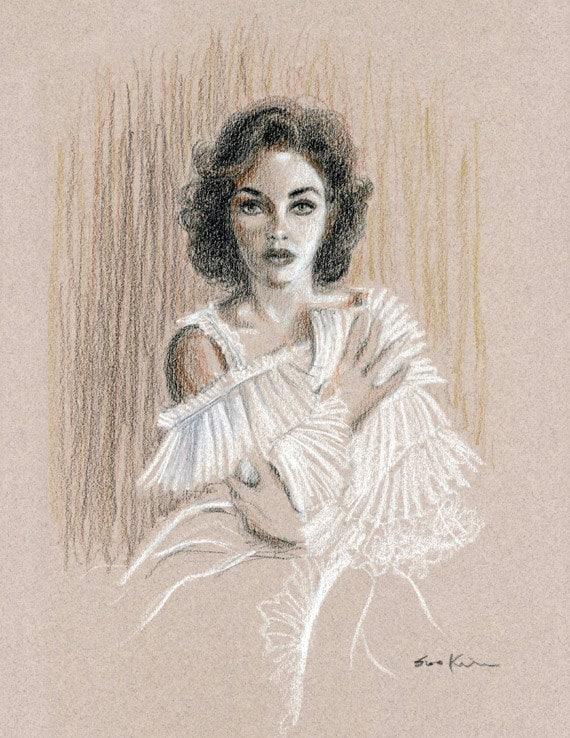 Conte Pencil Drawing - Elizabeth Taylor  Portrait
