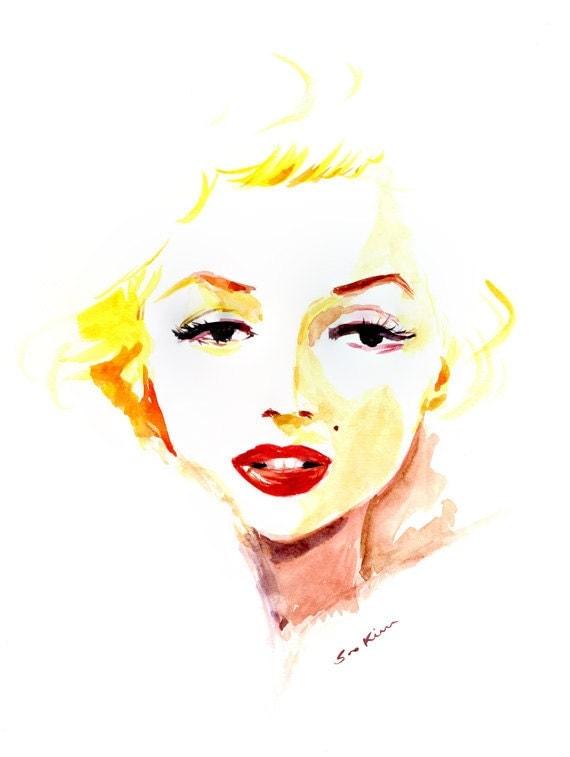 Marilyn Monroe - Watercolor Portrait Painting Art Print