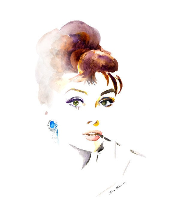 Audrey Hepburn Breakfast at Tiffanys Watercolor Portrait Painting