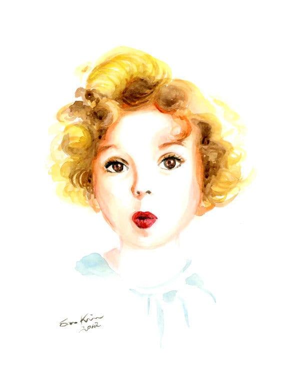 Shirley Temple Portrait aquarelle peinture Print - petit enfant Portrait - Blonde cheveux bouclés