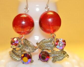 Vintage Silver Leaf and Rhinestone Earrings