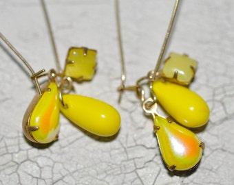 Vintage Bright Yellow Drop Earrings