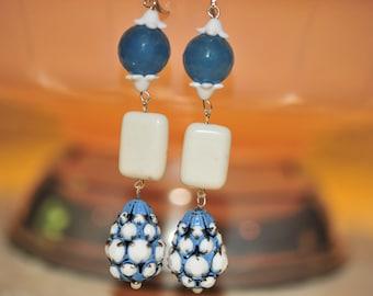 SALE Handmade Vintage Sky Blue and Chalk White Earrings