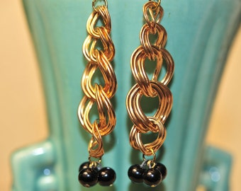 Handmade Vintage Gold Chain Earrings