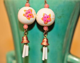 Handmade Vintage Wooden Painted Flower Earrings