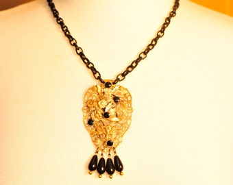 Handmade Vintage Ornate Brass Pendant Necklace