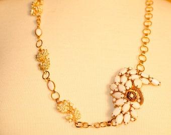 Handmade Vintage Chalk White Swirl Necklace