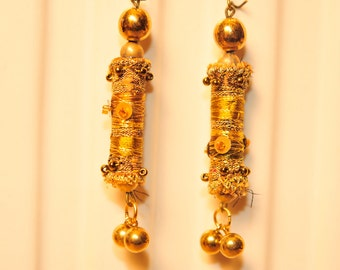Handmade Gold Fabric Bead Earrings