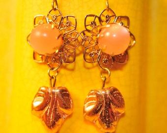 Handmade Vintage Iridescent Pink Earrings