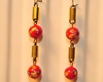 Handmade Vintage Red Millefiori Earrings