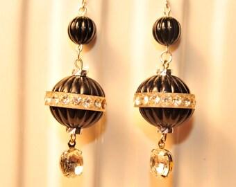 Handmade Vintage Black and  Rhinestone Drop Earrings