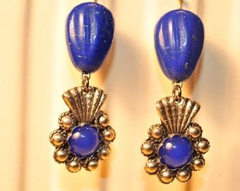 Handmade Vintage Dark Blue and Silver Earrings