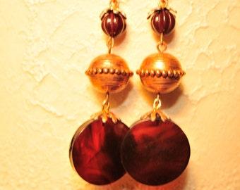 Handmade Vintage Tortoise Shell and Brass Earrings