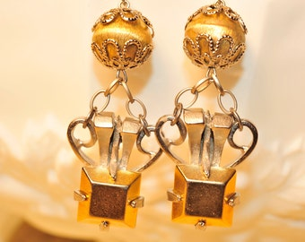 Handmade Vintage Silver and Gold Earrings