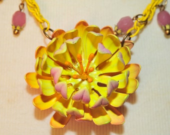 Handmade Vintage Pink and Yellow Flower Necklace