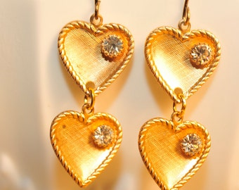 Handmade Vintage Brass and Rhinestone Heart Earrings
