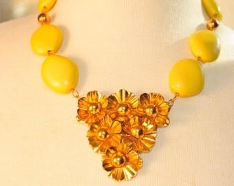 Handmade Vintage Brass Cluster Flower Necklace