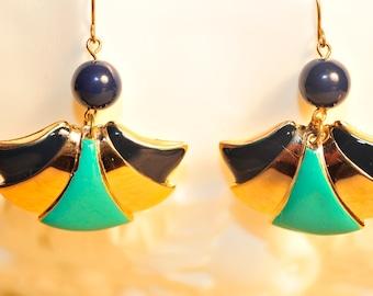 SALE Handmade Vintage Blue and Teal Fan Earrings