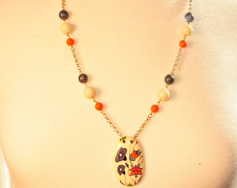 SALE Handmade Vintage Blueberries and Cream Necklace