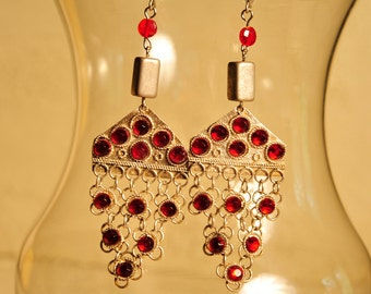 Handmade Vintage Red and Silver Tribal Style Earrings