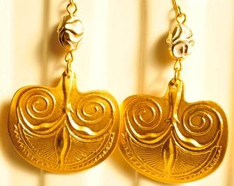 Handmade Vintage Large Gold Swirl Drop Earrings