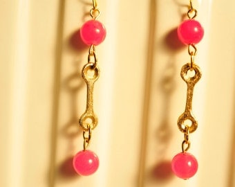 Handmade Vintage Pink Jade and Brass Link Drop Earrings