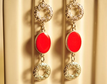 Handmade Vintage Silver Filigree and Red Oval Drop Earrings