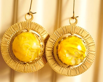 Handmade Vintage Rotating Brass Marbled Yellow Earrings