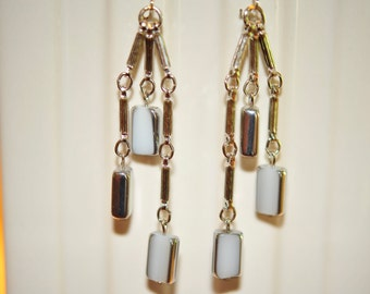 Handmade Vintage Milky White  and Silver Dangle Earrings