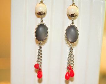 SALE Handmade Vintage Grey, White and Red Drop Earrings