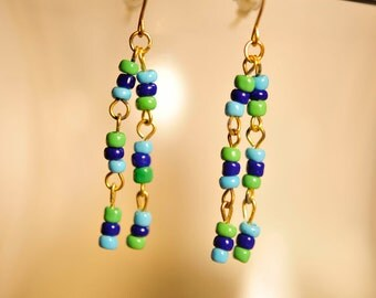 Handmade Vintage Blue and Green Tassel Earrings