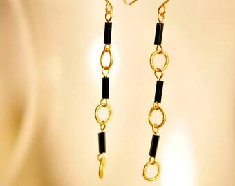 SALE Handmade Vintage Dainty Black and Gold Drop Earrings