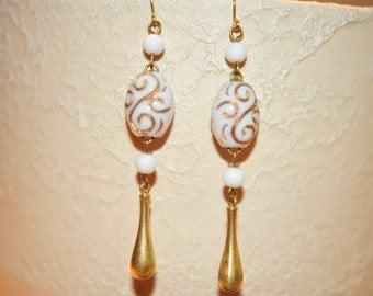 SALE Handmade Vintage Gold Swirl Earrings