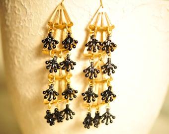 SALE Handmade Vintage Large Brass and Black Fan Charm Earrings
