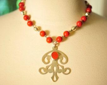 SALE Handmade Vintage Carnelian Swirl Necklace