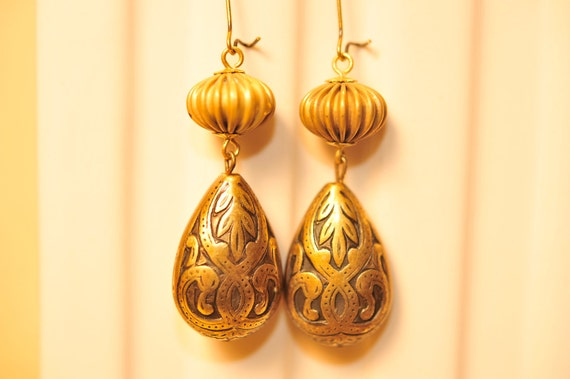 Handmade Vintage Brass Melon Drop Earrings