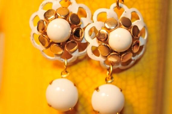 Handmade Vintage White Shabby Chic Flower Earrings