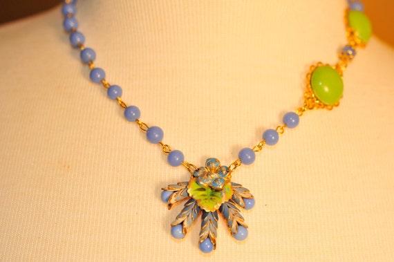 Handmade Vintage Periwinkle Blue Flower Necklace