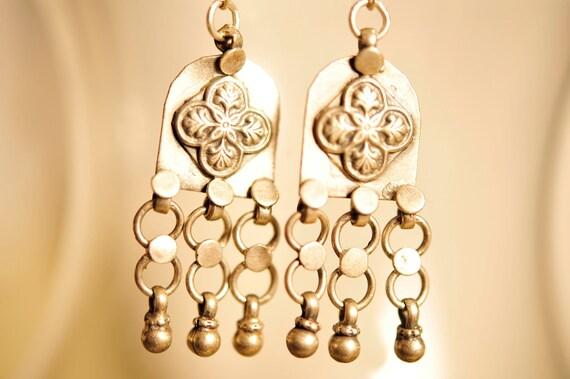 Handmade Vintage Ornate Silver Drop Earrings
