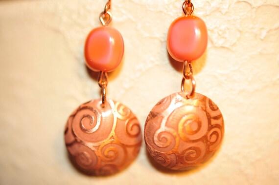 SALE Handmade Vintage Pink Beige and Gold Disc Earrings