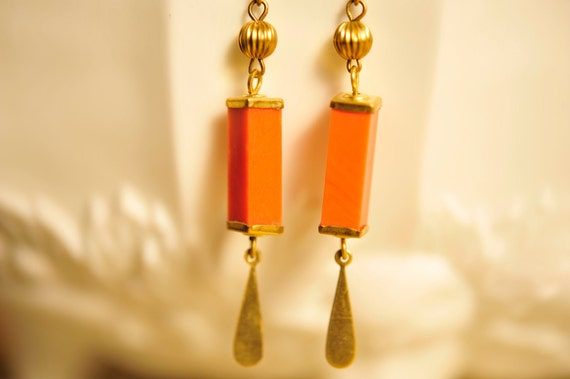 SALE Handmade Vintage Salmon and Brass Column Earrings