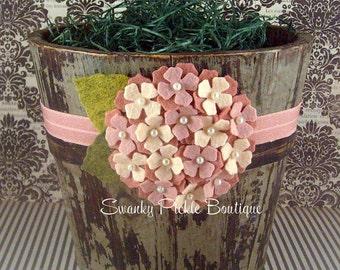 Peach Coral Wool Felt Hydrangea Flower Headband - Everything is Peachy - Infant, Toddler, Girl, Photo Prop