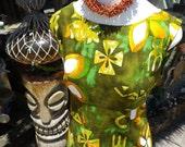 HOT vintage Hawaiian Aloha Tiki flutter back dress M L