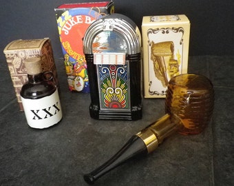 AVON vintage Lot 1970s 70s juke box corn cob pipe little brown jug Cologne After Shave  MAN CAVE set Fathers Day Gift