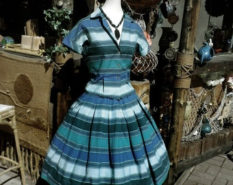 Southwestern Vintage 1950s 50s Circle Skirt 2 two Piece Dress Cabana Stripe Striped I Love Lucy Style Southwest Turquoise Blue Green Medium