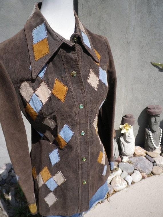 Vintage 70s Leather Suede Leather Jacket rockabilly Argyle Harlequin Check Diamond Design