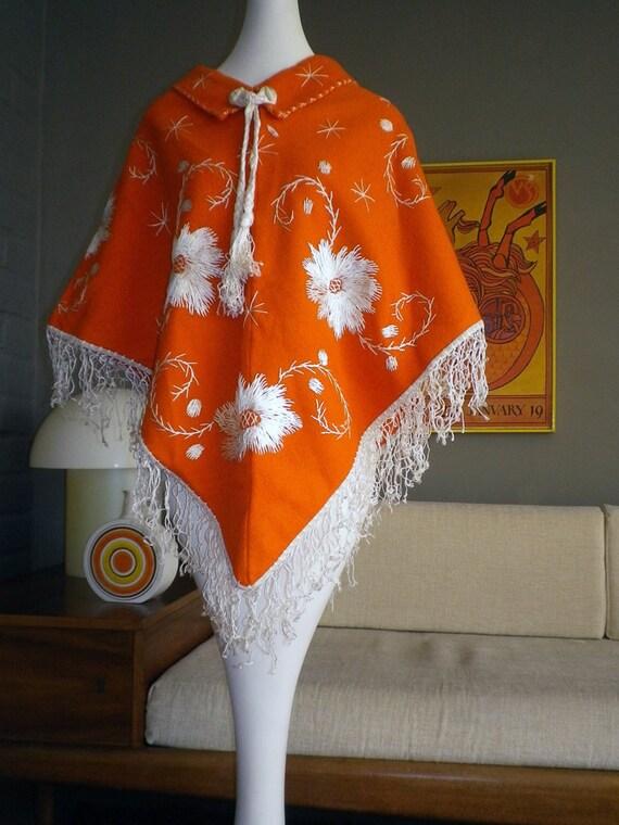 Vintage 1970s Hippie Poncho Bright Orange MOD Embroidered Flower Design Jacket Coat Sweater Cape