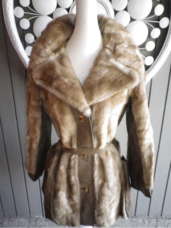 MOD Vintage 70s genuine leather faux mink fur coat Medium Tissavel France